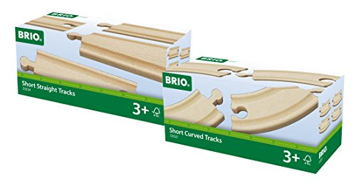 BRIO Schienen Set - Kurze gerade Schienen und Kurze gebogene Schienen