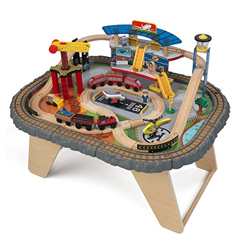 KidKraft Transportation Station Holzeisenbahn-Set & Spieltisch