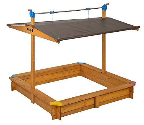 GASPO - Holz Sandkasten Mickey 140 x 140 cm mit absenkbaren Dach/Kurbeldach