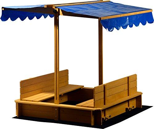 Dobar Sandkasten mit schwenkbarem Dach, Sitzbänke, Bodenplane, verschließbare Sandkiste aus Holz für Kinder, 120 x 120 x 120 cm