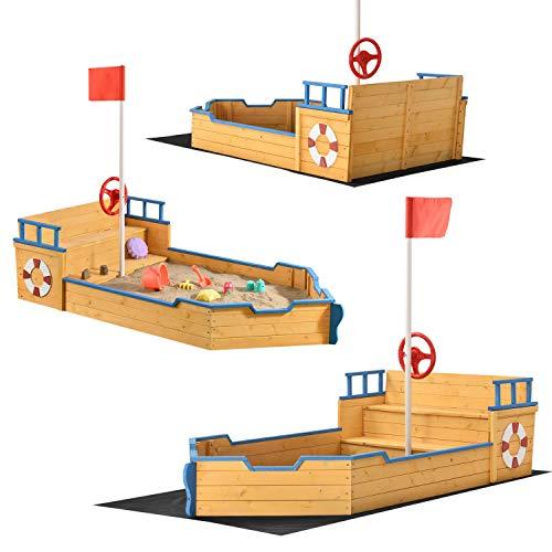 Juskys Sandkasten Käpt'n Pit - Piratenschiff Boot aus Holz