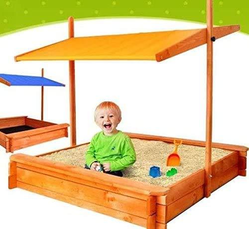 ADGO Holzsandkasten 120 x 120 cm mit Sitzen und verstellbarem Dach