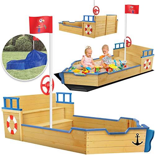 KIDIZ® Sandkasten Ahoi - Piratenschiff Boot Segelschiff aus Holz Inkl. Abdeckung, Bodenplane, Sitzbank, Flaggenmast