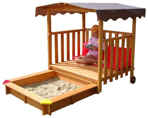 GASPO Sandkasten aus Holz mit Abdeckung, 220 cm x 133 cm x 144 cm